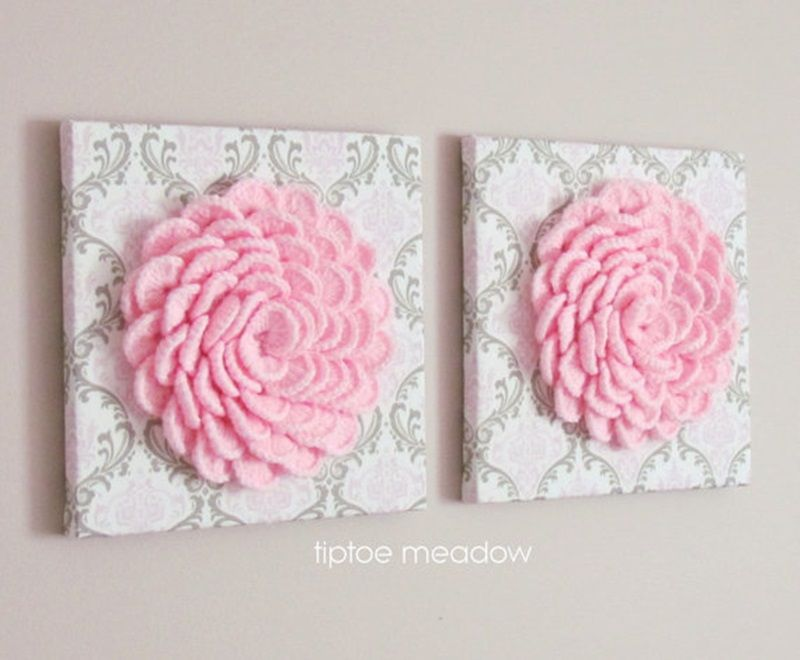 DIY Lovely Crochet Flowers on Canvas with Pattern Flower ...