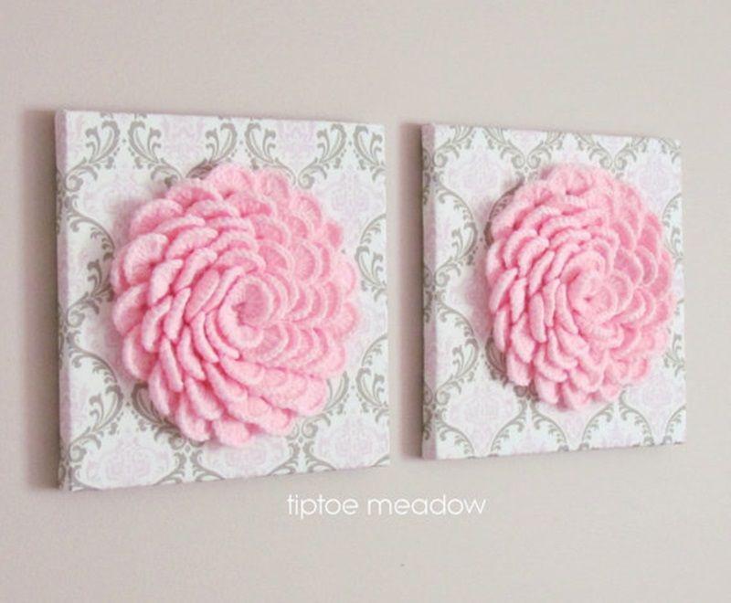 DIY Lovely Crochet Flowers on Canvas with Pattern | Häkelblumen ...