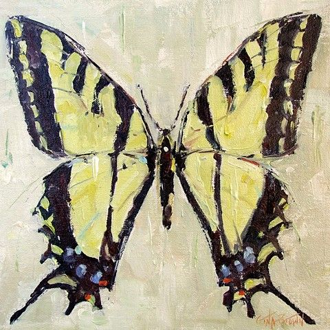 """""""Love is Like...""""  yellow butterfly painting by Alabama impressionist artist Gina Brown www.GinaBrownArt.com"""