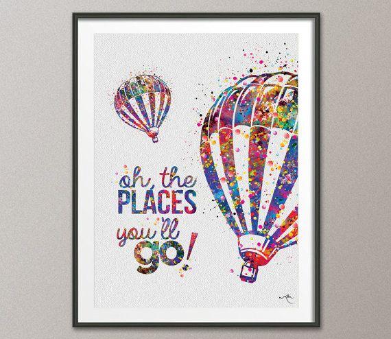 Hot Air Balloon Art Print Wall Wedding Gift Poster Nursery Wall Decor For Kids