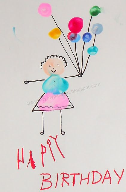 Thumbprint Card Birthday Card Craft Cool Birthday Cards Grandma Birthday Card