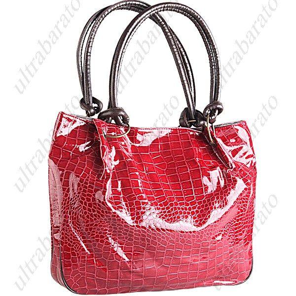 Vouge & Stylish Alligator Skin Patterned Patent Vinyl Snap Closure Rings Strap Satchel Bag - Red ($19.79)
