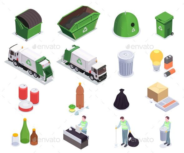 Recycling Waste Isometric Collection
