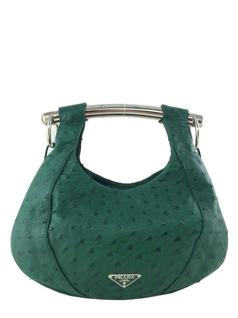 3a4f287cfd Prada Ostrich Struzzo Metal Bar Bag