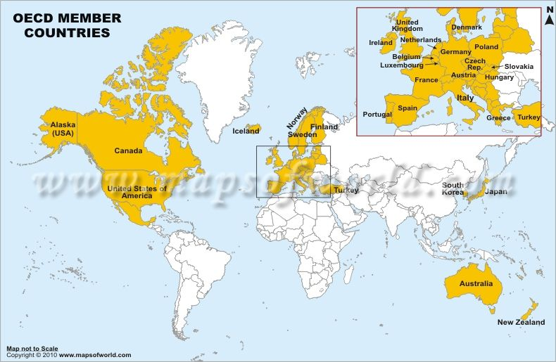 Oecd member countries world countries grouping pinterest school oecd member countries map gumiabroncs Images