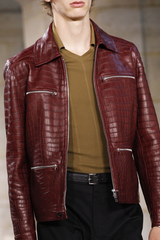 Hermes Spring 2018 Menswear Fashion Show Leather Jacket Men Mens Jackets Leather Jacket [ 3000 x 2000 Pixel ]