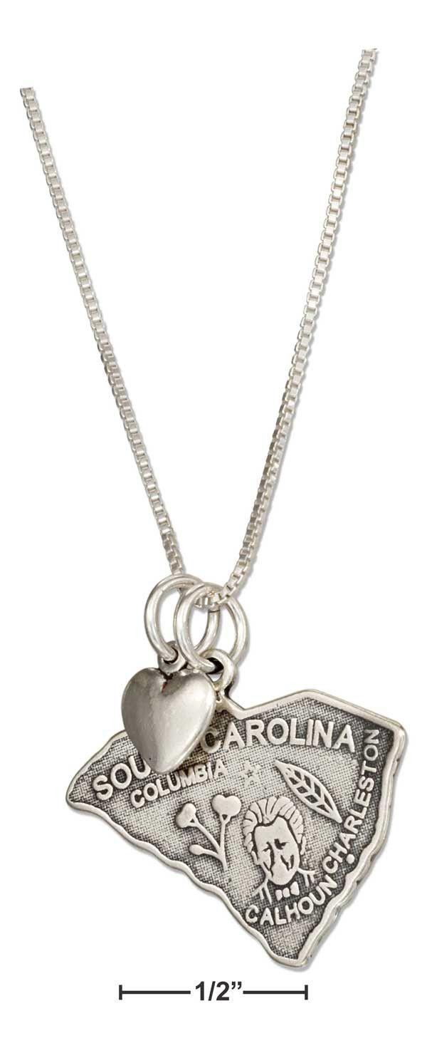 Sterling silver 18 south carolina state pendant necklace with sterling silver 18 south carolina state pendant necklace with heart aloadofball Gallery