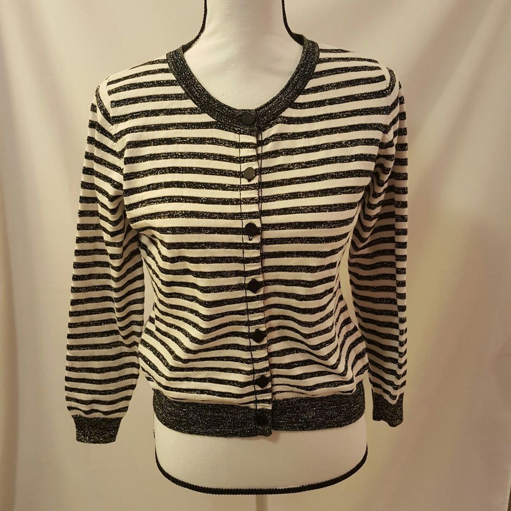 Womens Alice Moon White Black Gold Metallic Striped Cardigan ...
