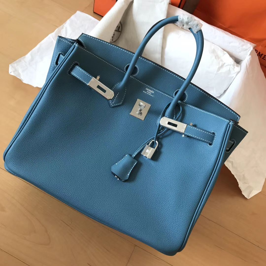 Jean In 2019 35 Leather 3 Hermes Bleu Birkin Togo Bag 9WHYDIEe2