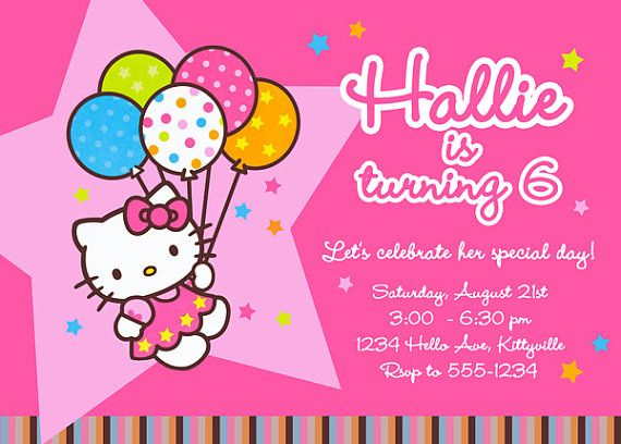 Invite Hello Kitty Party Pinterest Hello kitty and Hello kitty