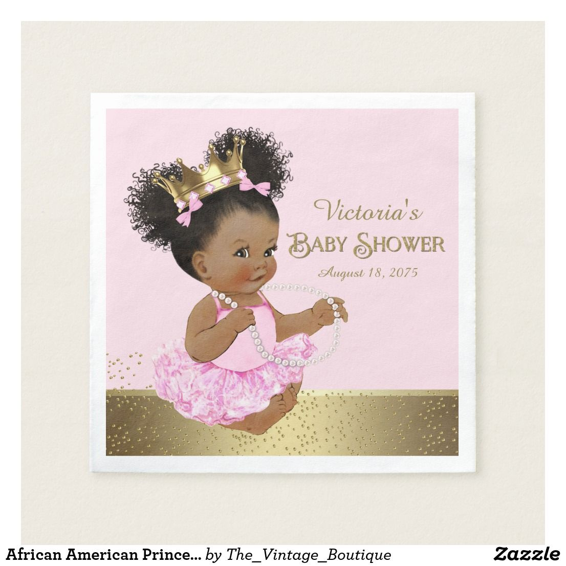 African American Princess Baby Shower Paper Napkin Zazzle Com