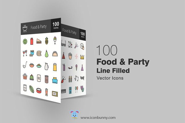 100 Free Food and Party Icons (exclusive)