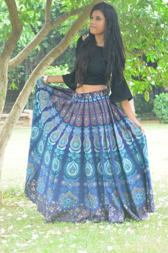 dfaad34746f Blue Boho skirts, Indian gypsy skirt, Mandala maxi Bohemian skirt Blue  Hippie cotton skirt ethnic sk