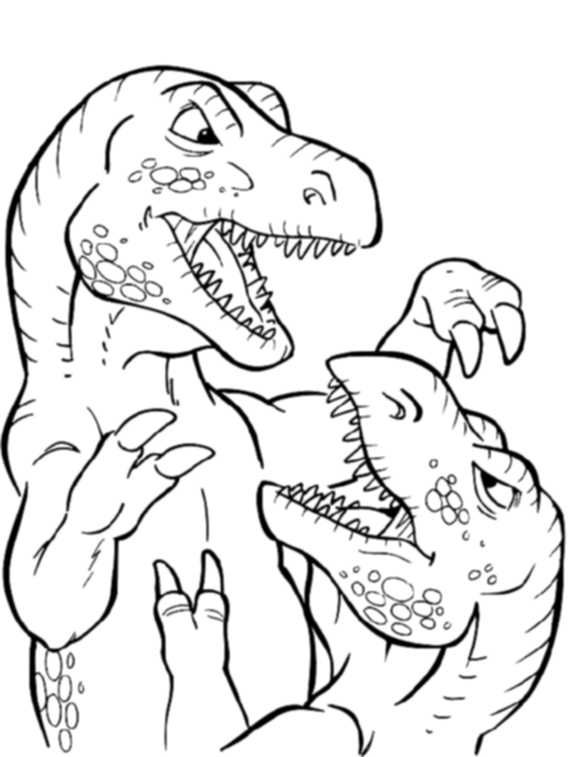 T Rex Fight Coloring Pages Free