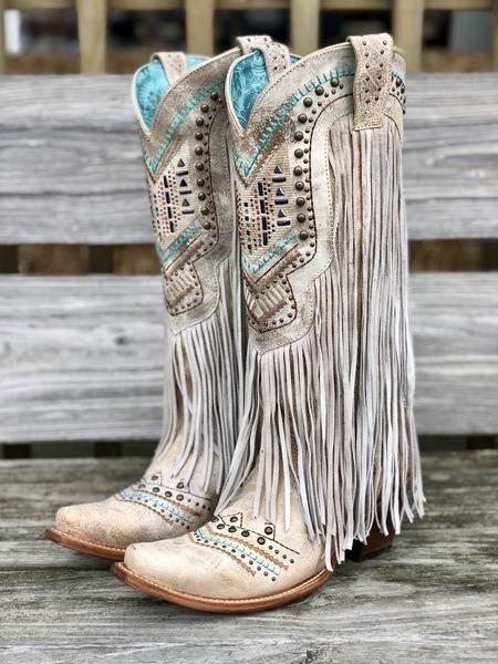 Corral Women's Bone Swarovski Crystal & Studded Fringe Tall Snip Toe Boots C3424 5