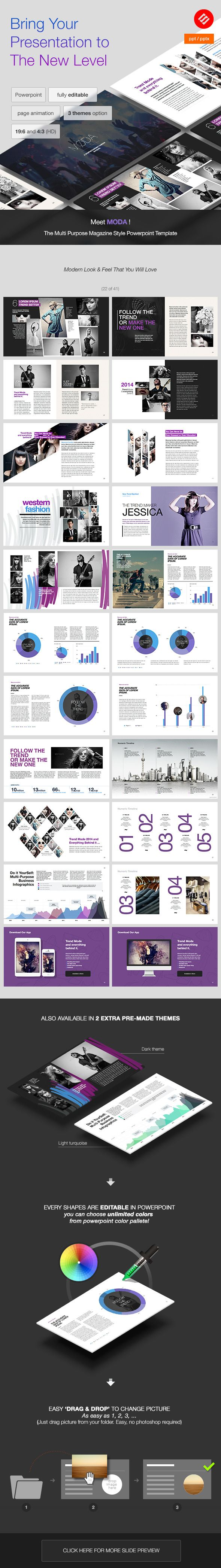 MODA - Modern Powerpoint Template | Präsentation, Portfolio Ideen ...