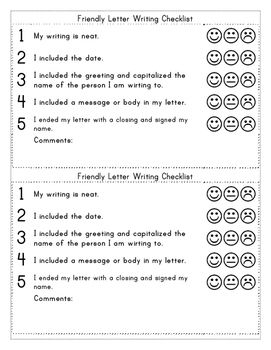 friendly letter template with examples and rubric checklist