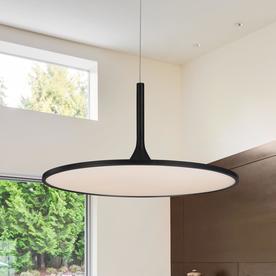 Modern LED Pendant Light Ellipse Shape Chandelier Cool Black