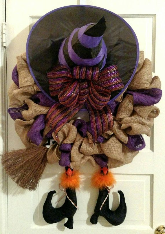 Halloween Witch Wreath, Witch Wreath, Burlap Witch Wreath, Witch crashed into door! Burlap Halloween Wreath, wreath with witch legs.