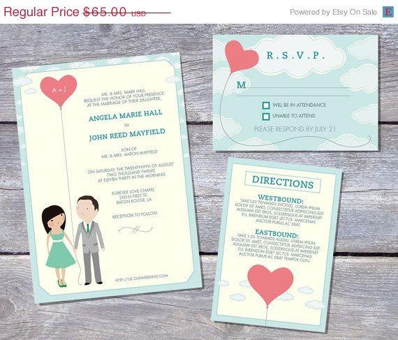 on sale wedding invitation suite custom cartoon printable design