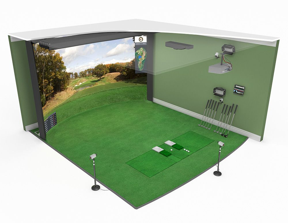 High definition golf simulator model 16 10 curved screen for Golf simulator room dimensions