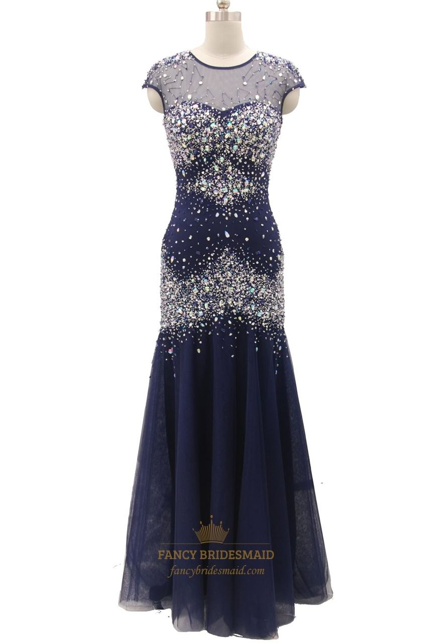Navy blue fully beaded mermaid cap sleeve long prom dress long