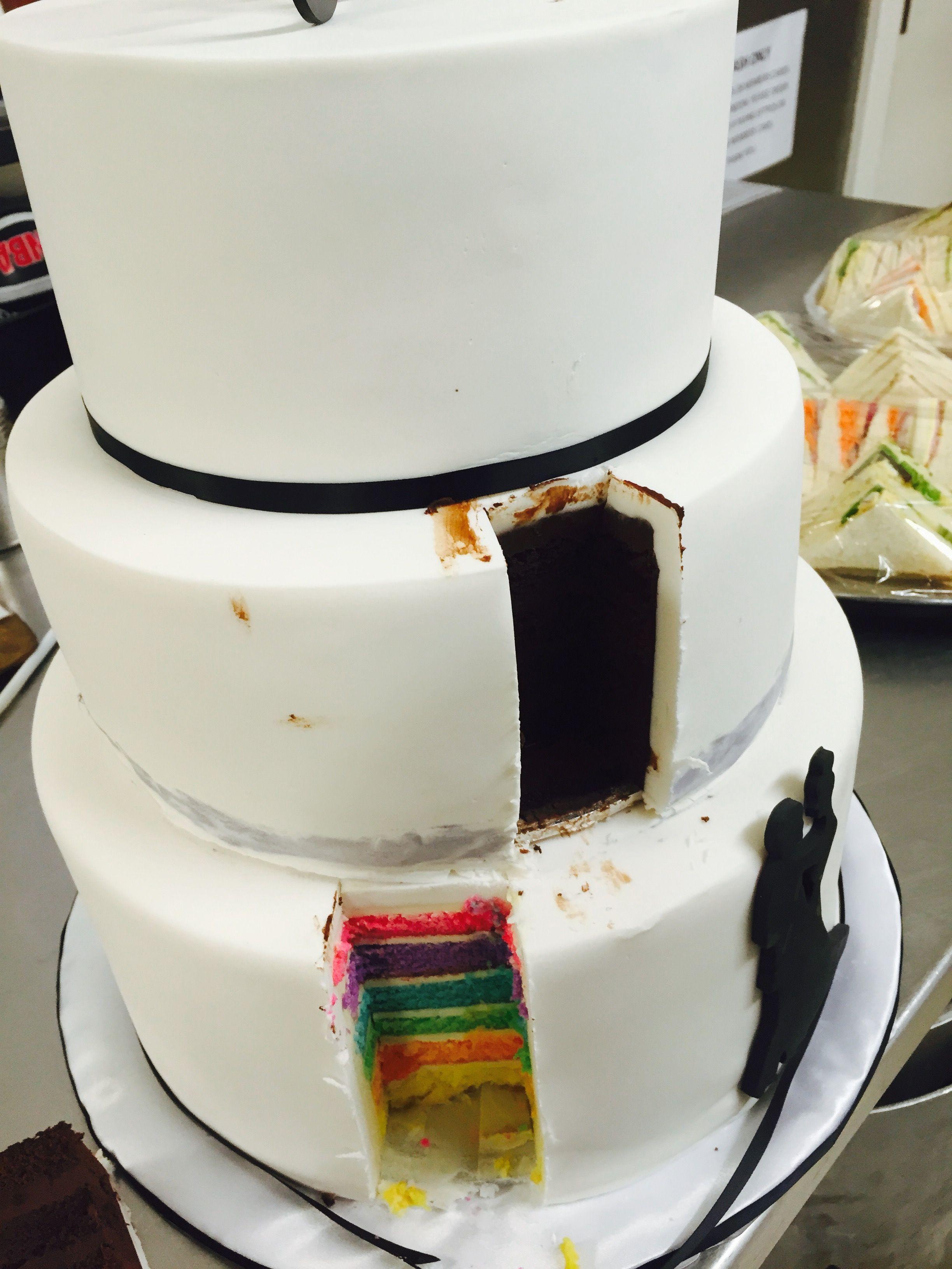 3 Tier Wedding Cake - inside peek at the layers. | Wedding Cakes ...