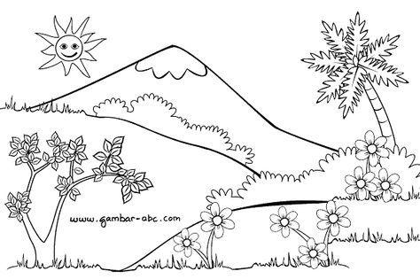 Gambar Mewarnai Pemandangan Alam Buku Mewarnai Pemandangan Sketsa