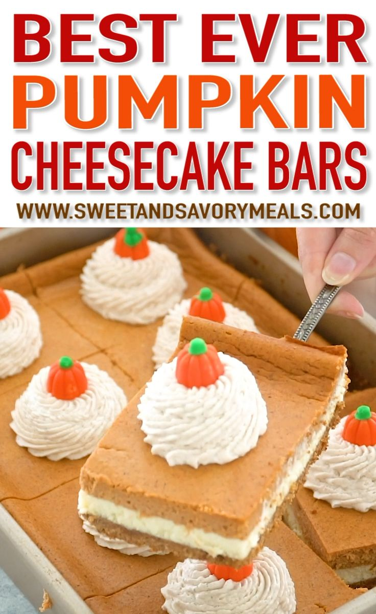 Pumpkin Cheesecake Bars #pumpkindesserts