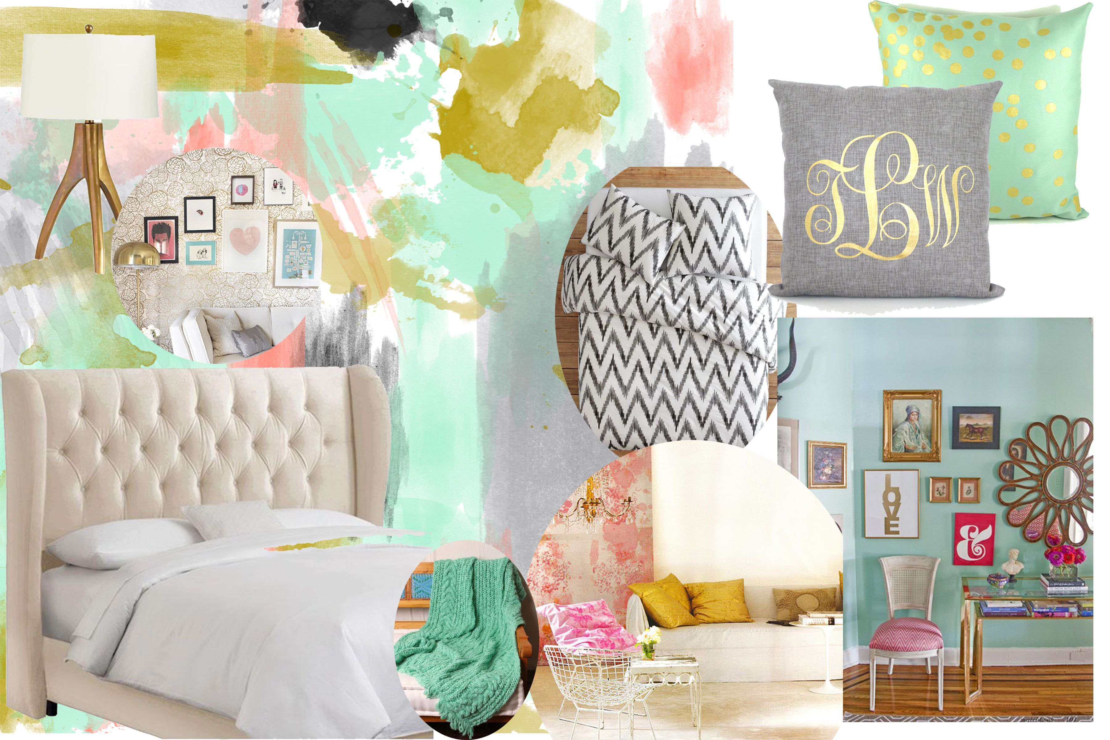 My Inspiration For A Gold Pink And Mint Bedroom For The Home