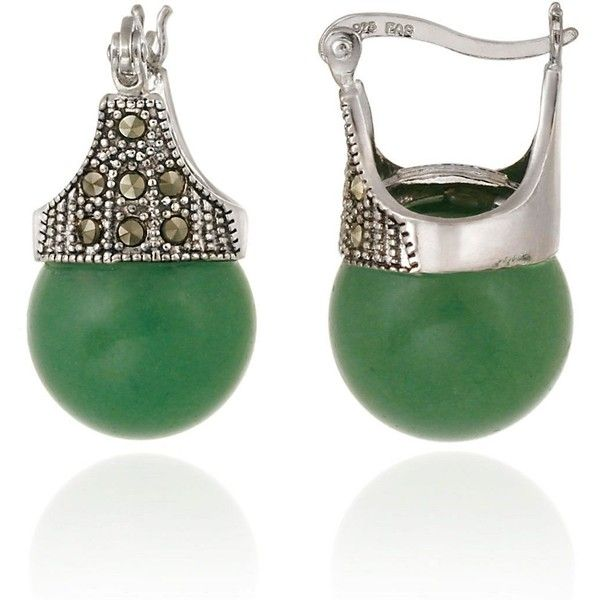 Designs Sterling Silver and Marcasite Green Aventurine Drop Earrings ($32) ❤ liked on Polyvore featuring jewelry, earrings, accessories, green aventerine, sterling silver earrings, earring jewelry, polish jewelry, marcasite jewelry and round drop earrings