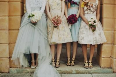 Each Bridesmaid Carried A Unique Bouquet In Fremantle Australia Vintage Bridesmaid Dresses Floral Bridesmaid Dresses Unique Bridesmaid Dresses
