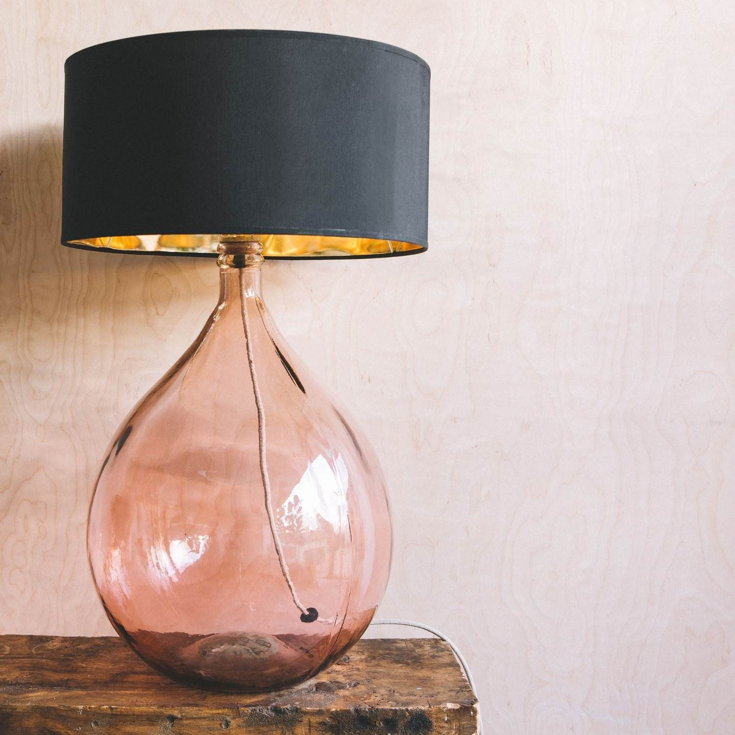 Extra Large Round Pink Glass Lamp Pink Table Lamp Glass Lamp