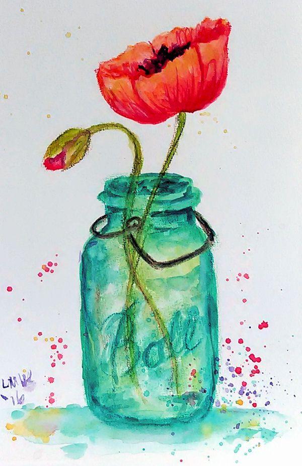 Let S Draw A Mason Jar Poppy In Watercolor Pencils Watercolor
