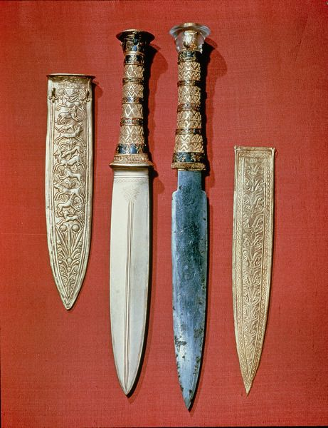 The king's two daggers, from the tomb of Tutankhamun (gold ...