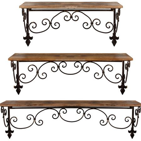 glamorous wrought iron kitchen wall shelves | Three-piece wall shelf set in iron and wood with fleur-de ...
