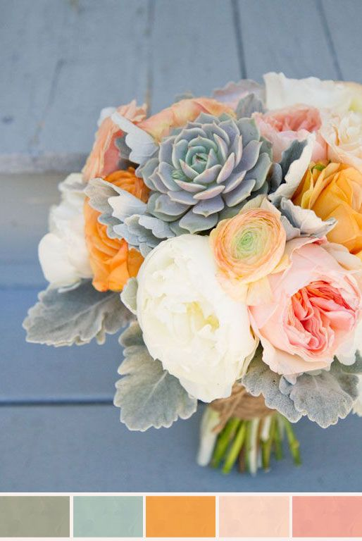 "roses, peach ""juliet"" garden roses, queen anne's lace, peach ranunculus, grey succulents, and gray dusty miller. another idea: cream hydrangea. Love this palette."