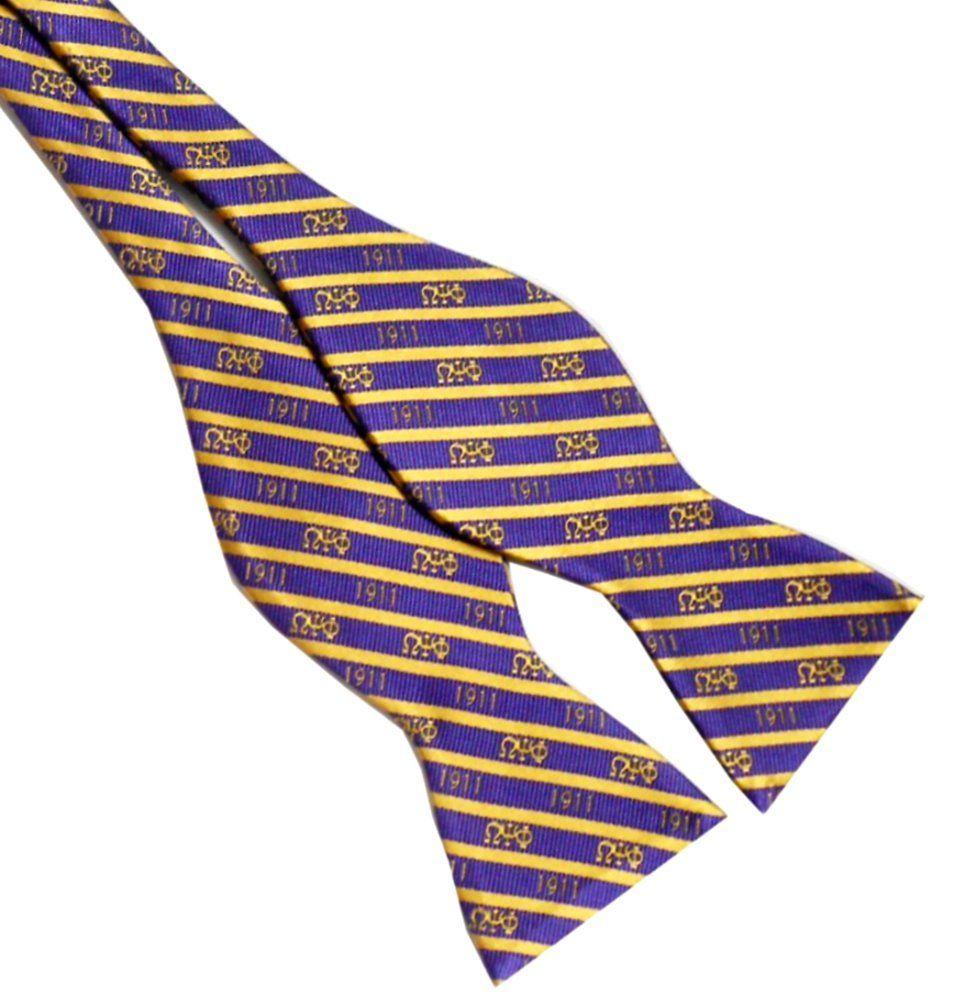 Phi Psi Self Tie Striped Silk Bow Tie