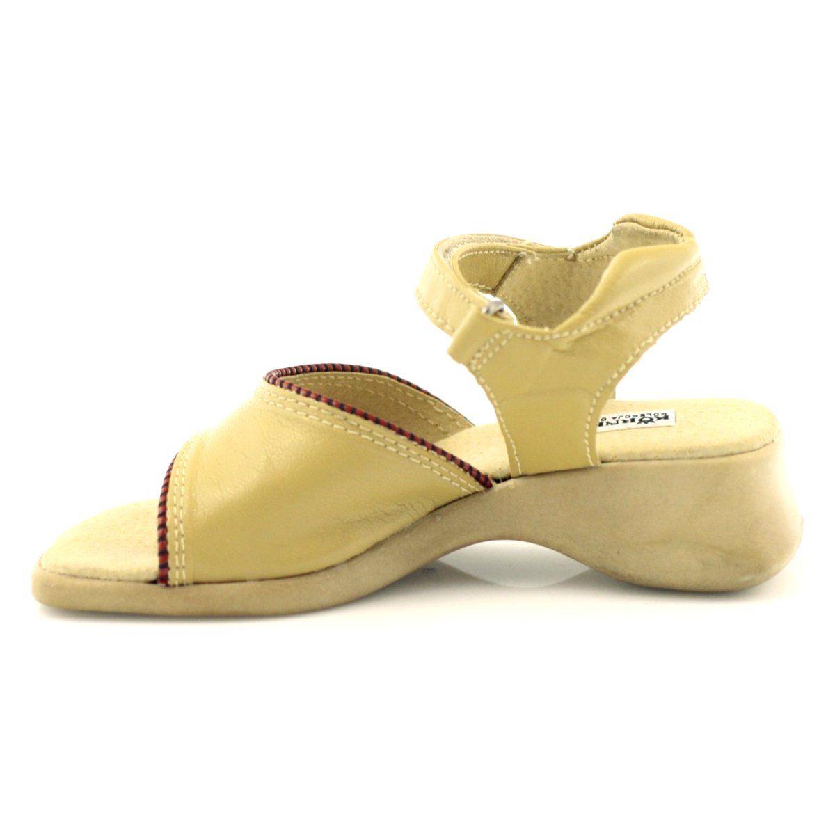Sandalki Dziewczece Kornecki 090 Bezowe Czerwone Brazowe Slip On Sandal Shoes Mule Shoe