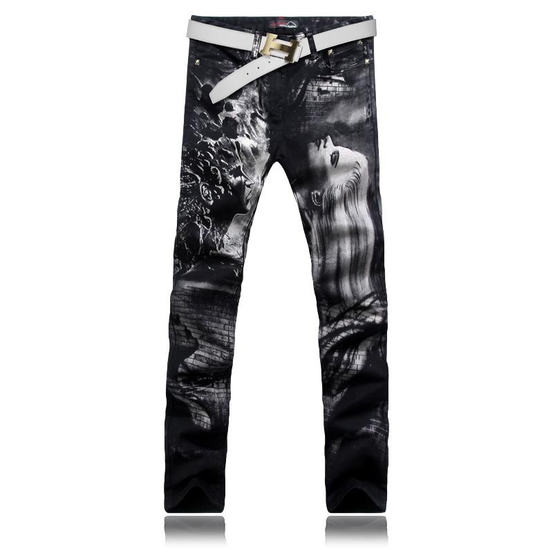 US $34.90 (Watch more - https://alitems.com/g/1e8d114494b01f4c715516525dc3e8/?i=5&ulp=https%3A%2F%2Fwww.aliexpress.com%2Fitem%2FMen-Brand-Street-American-Union-Jack-Printed-Stretch-Slim-Jeans-Painting-Printed-White-Jeans-Men%2F32333056166.html) [Alpaca] Men Brand Street Wear Printed Stretch Slim Jeans Painting Printed Black Jeans Men Plus Size 38