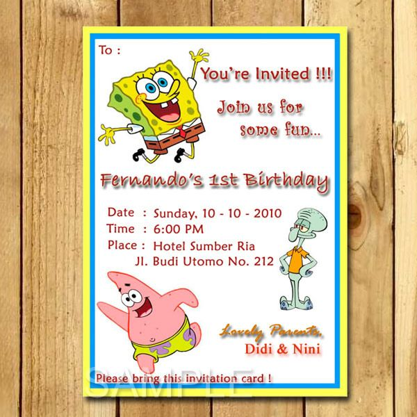 Kartu undangan ulang tahun spongebob tema film pinterest explore spongebob invitation and more kartu undangan ulang tahun spongebob stopboris Choice Image