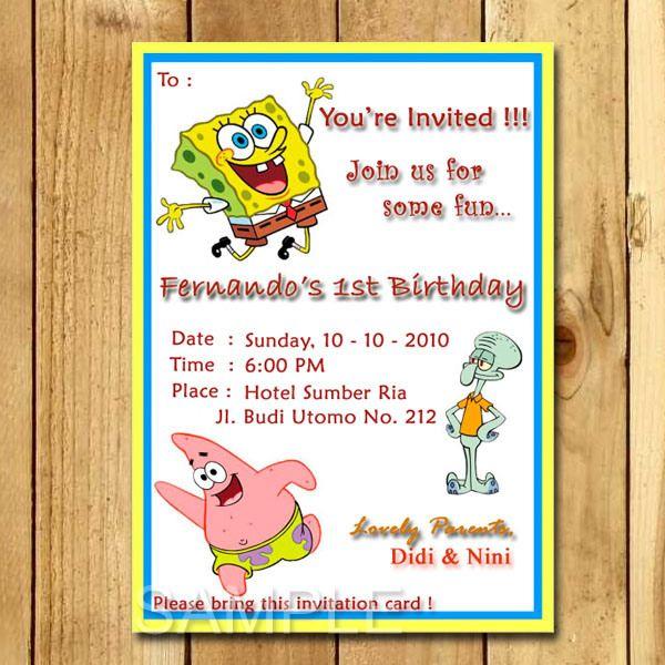 Kartu Undangan Ulang Tahun Spongebob Proyek Untuk Dicoba