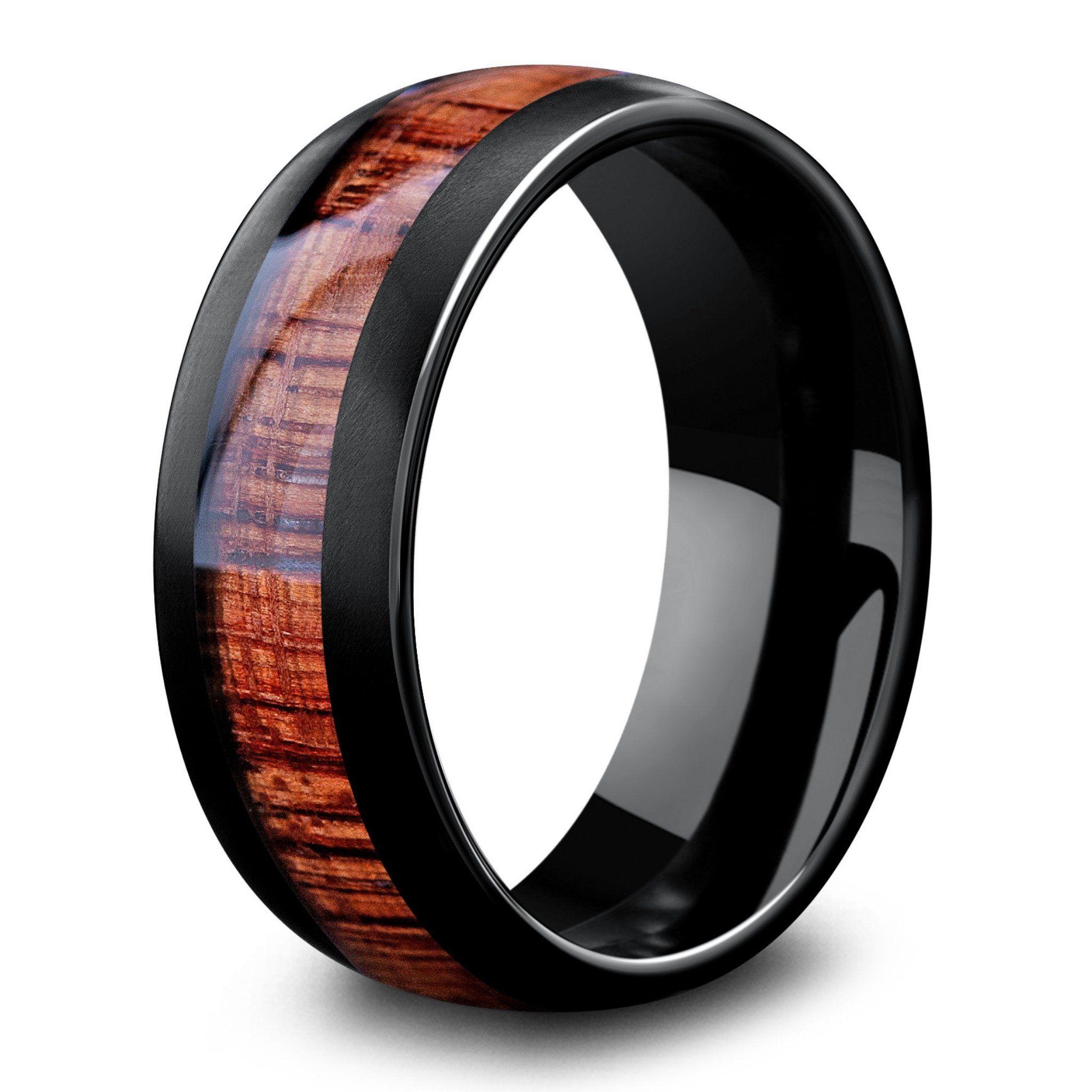 8mm Black Tungsten Wedding Band with Koa Wood Inlay