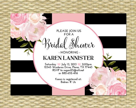 black white stripes bridal shower invitation by sunshineprintables