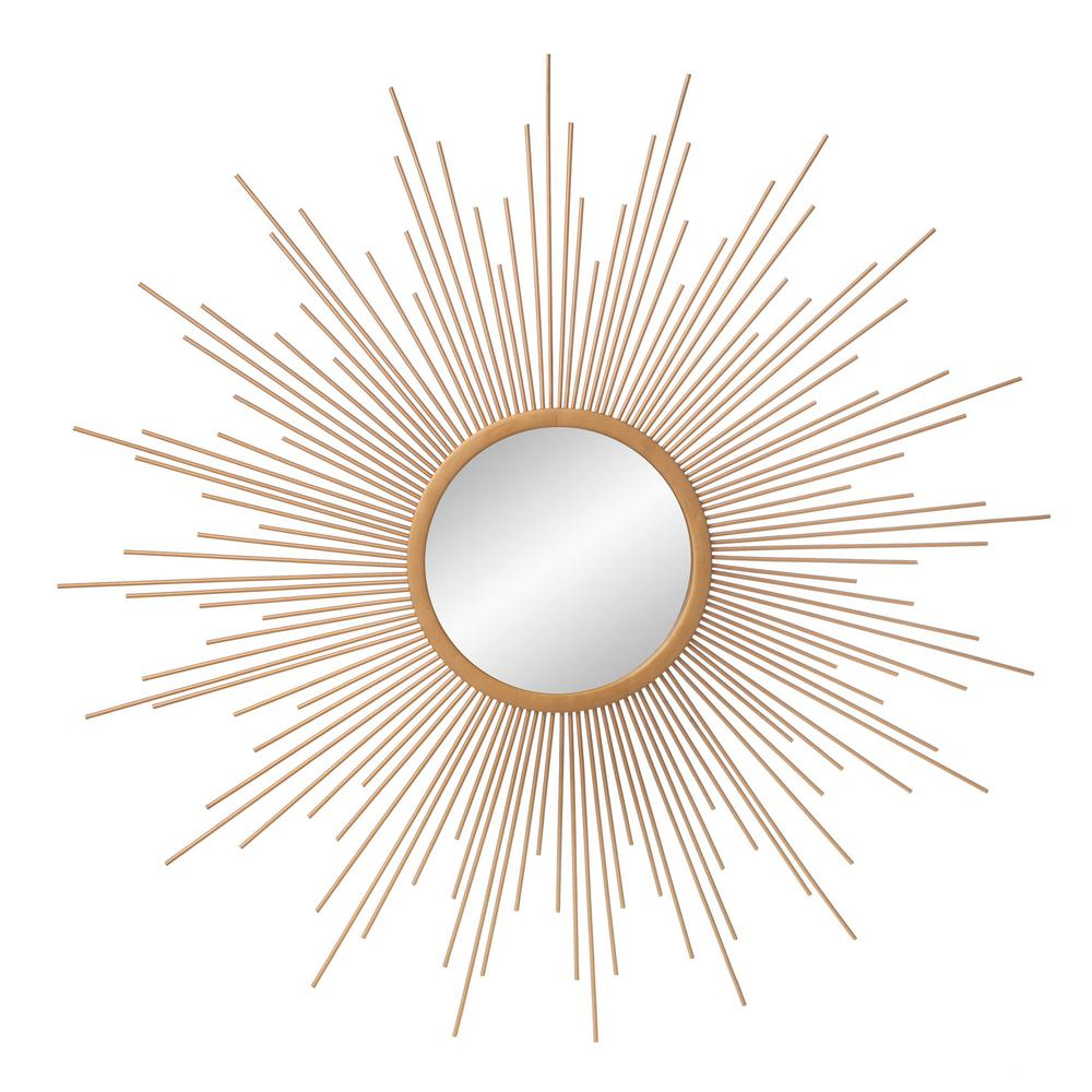 Pinnacle Medium Sunburst Gold Contemporary Mirror 29 5 In H X 29 5 In W 1805 3778 The Home Depot Gold Sunburst Mirror Contemporary Mirror Sunburst Mirror