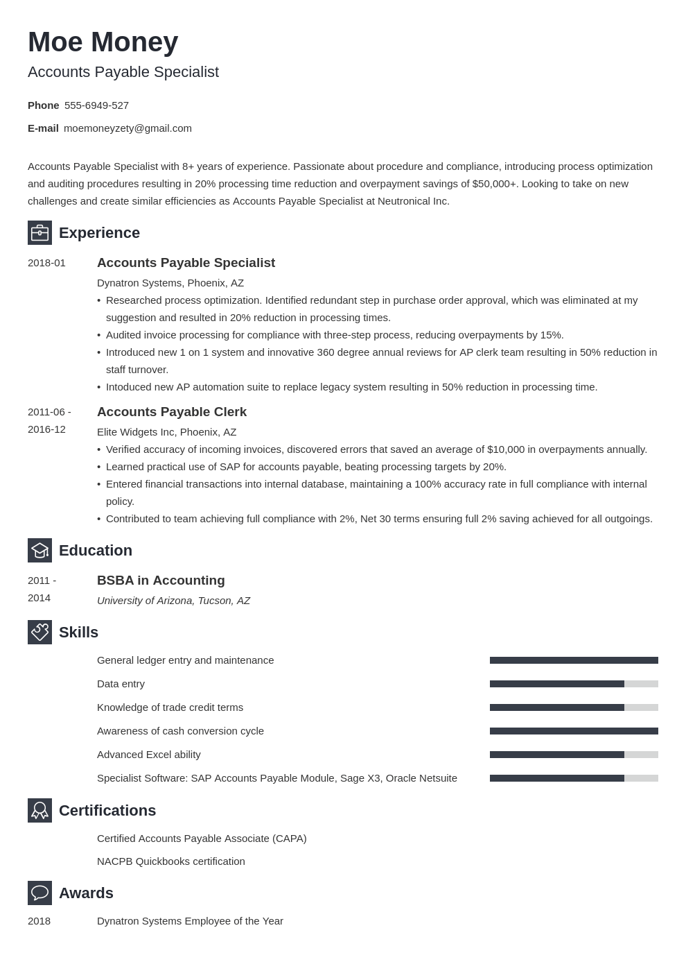 accounts payable resume example template newcast in 2020