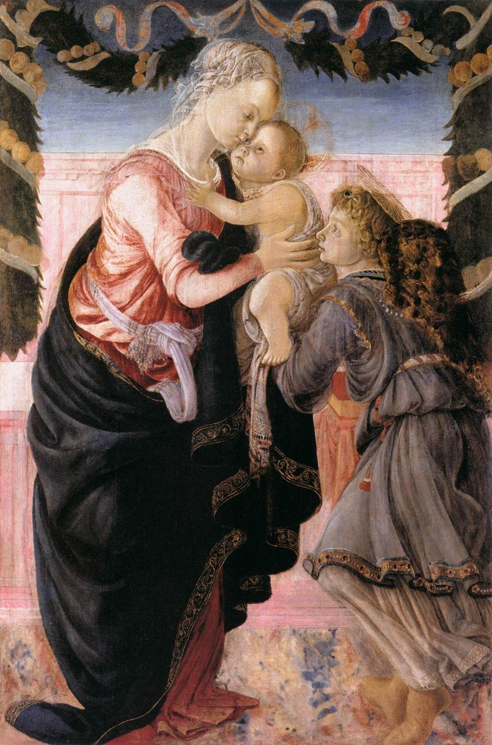 sandro boticelli virgin and child supported by an angel in a