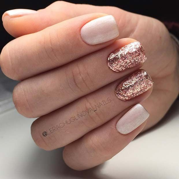 Rose Gold Nail Glitter: Rose Gold Glitter Nails For Elegant Nail Designs For Short