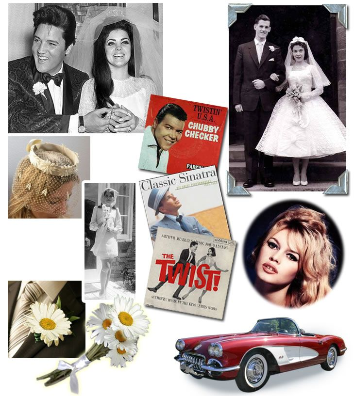 A 1960's Wedding Theme. The 1960's were a tumultuous decade. The only constant was change. The beginning of the decade looked more like the innocence of the fifties but by '69 pop culture, science, fashion, and politics had changed the face of America.
