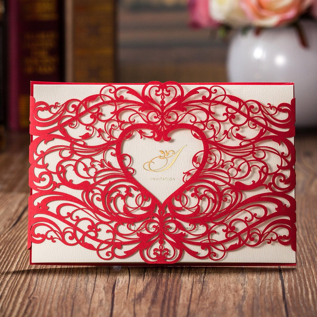 Personalised Red Laser Cut Heart Wedding Invitation Cards, Envelopes ...